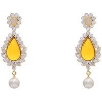 AD STONE STUDDED FLOWER STYLE EARRINGS/HANGINGS (CHAMPAGNE)  - PCFE3170