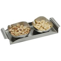 Dinette 2 Pcs Stainless Steel Nut Bowl Set With Tray
