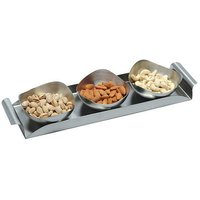 Dinette 3 Pcs Stainless Steel Nut Bowl Set With Tray