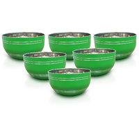 King International - Stainless Steel Green Designer Bowl/Katoris Set Of 6Pcs