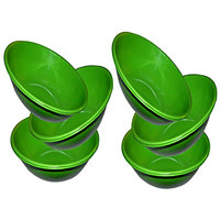 King International- Stainless Steel Serving Bowl Green Color/Pasta Bowl/Salad Bowl Set Of 6 Pcs