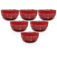 King International - Stainless Steel Red Designer Bowl/Katoris Set Of 6Pcs