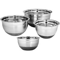 Montstar Set Of 4 Professional Stainless Steel Bowls With Non Slip Silicone Base