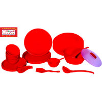 DREAM HOME PLASTIC DINNER SET ( 44 PC ) ROUND WITH RED