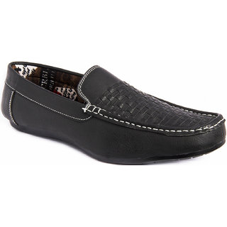 AZAZO Men Black Slip On Casual Loafer Shoes