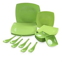24pcs Square Melamine Dinner Set (green)