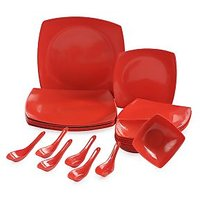 24pcs Square Melamine Dinner Set (red)
