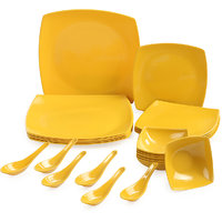 24pcs Square Melamine Dinner Set (yellow)