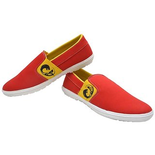 Contablue Men's Canvas Loafers Red
