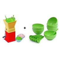 Combo Chilly Cutter.1 +   Soup Bowl Set Of 12 Pcs Multi Color