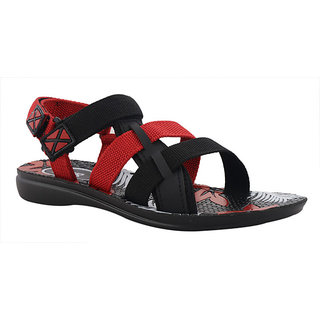 FTR Women's Red And Black Velcro Sandals
