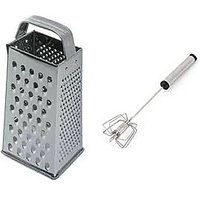Rasoi Combo Of 4 Sided Home Grater With Double Action Beater