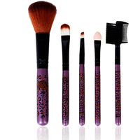 5 Piece Trendy Leopards Fashion Facial Make Up Brush Set Beauty Tool