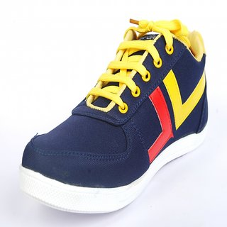 MZone Men's Blue And Yellow Lace-Up Casual Shoes