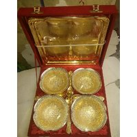 Gold & Silver Plated Brass Bowl Set Of 9 Pcs With Box Packing