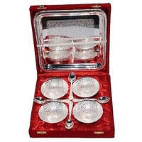 Silver Plated Brass Bowl Set Of 9 Pcs With Box Packing