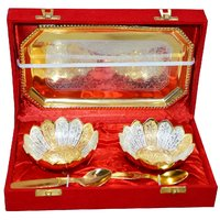 Gold & Silver Plated Brass Bowl Set Of 5 Pcs With Box Packing (FLOWER)