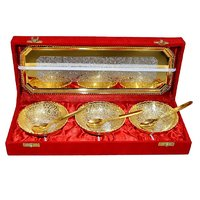 Gold & Silver Plated Brass Bowl Set Of 7 Pcs With Box Packing For Gift