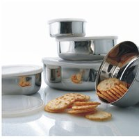 Montstar 3Pc Stainless Steel Storage  Bowl Set With Plastic Lid