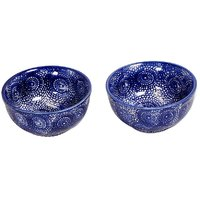Indigo Blue Ceramic Bowls (Set Of 2)