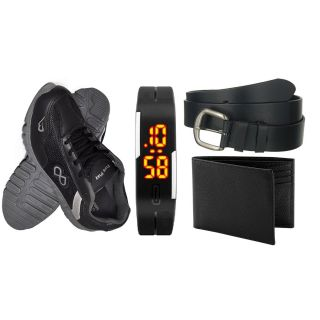 Pure Play Shoes + Black Led Watch + Black Leather Belt + Black Leather Wallet