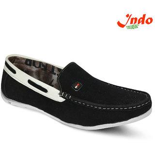 Indo Men's Black And White Loafer