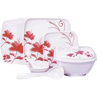 Diamond Crockery 34 Pcs Dinner Set - Flower Attarnia Pink