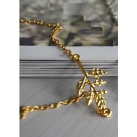New Design Chunky Fashion Golden Color Metal Leaves Leaf Pendant Chain Necklace.