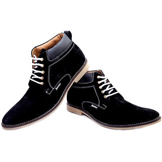 Aureno Black Genuine Suede Leather Casual Boot