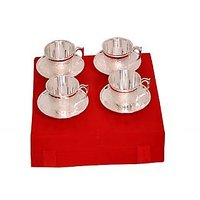 Silver Plated 4 Brass Tea Cups And Saucer Set