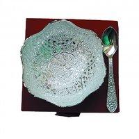 Handi Trendy Peacock Carved Silver Plated Designer Brass Bowl Set