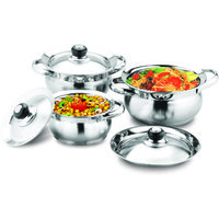 Stainless Steel 3 PCs Handi Set Without Stainless Steel Lid Cover