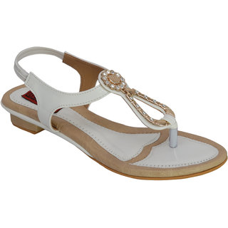 Belson  Faux Leather White Party Wear Flats For Women