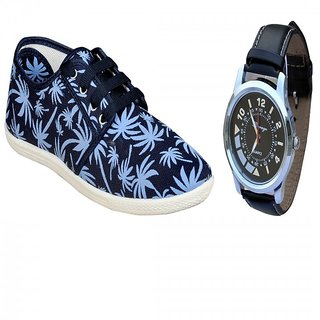 Delux Look Printed Blue Tennis Shoes With Branded Black  Watch Free