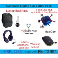Laptop Backpack USB Hub Card Reader Wireless Mouse Headphone With Mic Offer