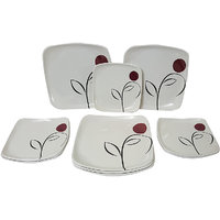 Elegant Big Bird Maroon Dot 24-piece Dinner Set