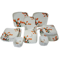 Elegant Big Bird Orange Tulip 32 Pieces Dinner Set