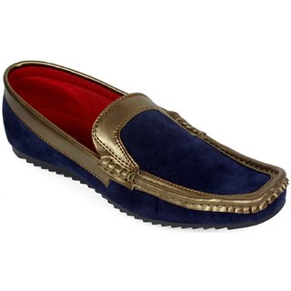 AZAZO Men Slip On Blue-Gold Casual Loafer Shoes