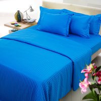 Mark Home Blue Coloured 1 Fitted Sheet And Two Pillow Covers