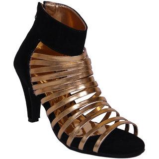 John Sparrow Black With Golden Stripped High Heel Stiletto