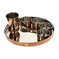 COPPER  S.S PLATE WITH BOWLS AND GLASS