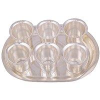 Rajlaxmi Silver Plated 6 Pyla Glass With Tray