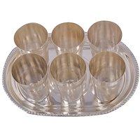 Rajlaxmi Silver Plated 6 Punjabi Glass With Tray