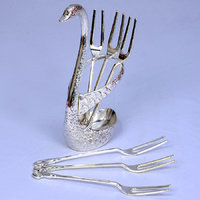 High Quality Cutlery Set With Swan Shaped Stand | Silver Finish
