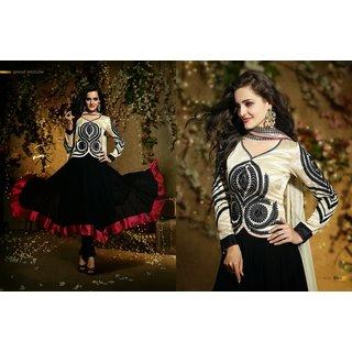 Cream & Black Combination Salwar Suit