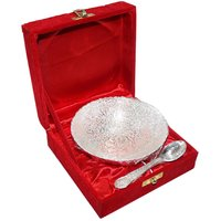Decorifyme Round Bowl With Spoon Silver Plated Engraving Handcrafted For Diwali Wedding And Festival Gifting