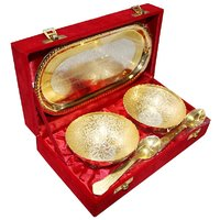 Decorifyme Gift Diwali Gold Silver Set Silver Gold Plated 5Pc Set Fine Engraving In A Velvet Gift Box