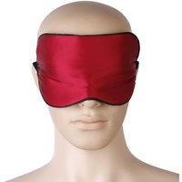 Wine Red Pure Silk Hand Washable Eye Mask Eye Patch With Adjustable Elastic Head Strap