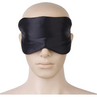 Black Pure Silk Hand Washable Eye Mask Eye Patch With Adjustable Elastic Head Strap
