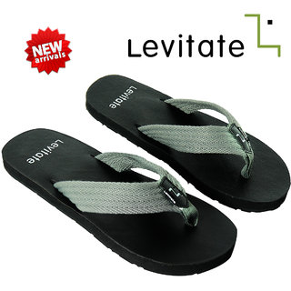 Levitate Men's Black And Grey Slippers